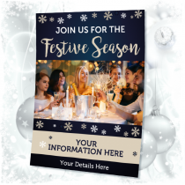Personalised Join us this Festive Season waterproof posters. Sizes available A3, A2 & A1
