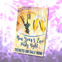 New Years Eve Party Night booking waterproof poster. Sizes available A3, A2 & A1