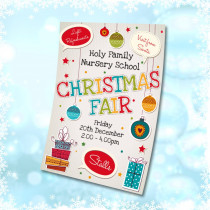Christmas Fair Coming Soon waterproof poster. Sizes available A3, A2 & A1