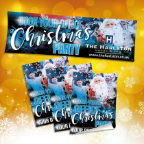 Personalised Book your Office Christmas Party Banner and Poster Advertising Pack