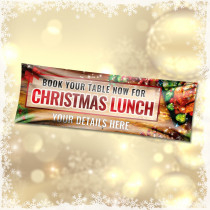 Personalised Book now for christmas lunch Banner.