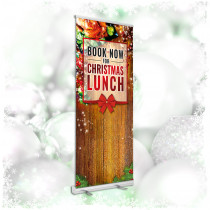 Book Now for Christmas Lunch roller banner. 850x2000mm
