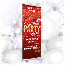 Personalised Book now for christmas party nights roller banner. 850x2000mm