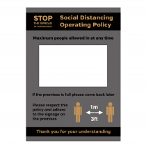 Social Distancing Operation Policy maximum people allowed in at any time notice