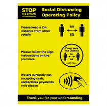 Social Distancing Operating Policy customer advisory sign