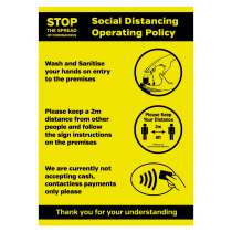 Social Distancing Operating Policy sign