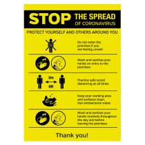 STOP the spread of the Coronavirus social distancing premises sign