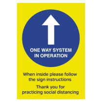 One Way system in operation social distancing guidance sign