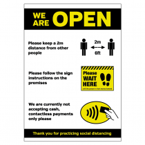 We are OPEN social distancing policy customer advice sign