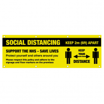 Social Distancing Keep 2 metres apart support the NHS save lives PVC Banner