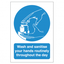 Wash and sanitise your hands routinely thoughout the day vinyl sticker