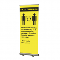 Please keep 2 metre apart  social distancing roller banner