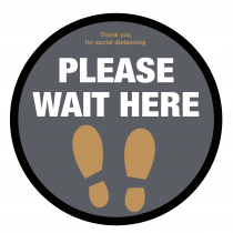Please wait here with symbol social distancing circular floor sign