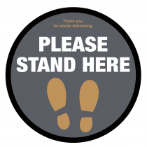Please Stand here with symbol social distancing floor graphic