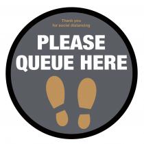Please Queue here with symbol social distancing floor graphic