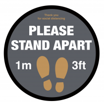 Please Stand 1 metre / 3ft Apart social distancing floor graphic