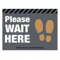 Please wait here social distancing floor graphic