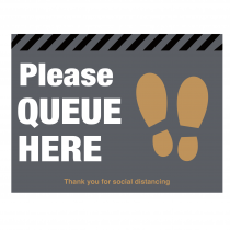 Please queue here with symbol distancing floor graphic