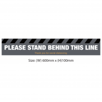 Please stand behind this line floor graphic