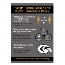 Social Distancing Pub & Restaurant Operating Policy notice