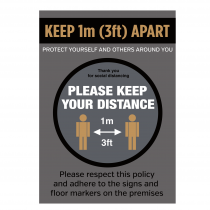 Keep 1 metre (3ft) apart when entering social distance notice