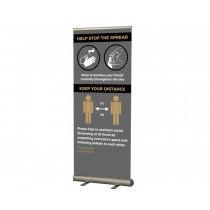 Help Stop the spread wash your hands / keep your distance social distancing roller banner