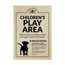 Dog Friendly Childrens Play Area Polite Notice wall mounted Exterior Sign
