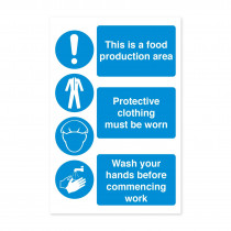 3 Part Food Production Staff Hygiene Safety Notice