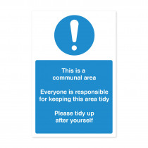 Staff Communal Area - Keep Clean & Tidy Notice