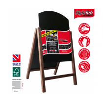 Curved Top Wood Framed Chalkboard Pavement A-Board with Reversible panels