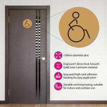Disabled Toilet Door Symbol Right 150mm Gold