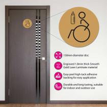 Disabled & Baby Change Toilet Door Symbol Left 150mm Gold