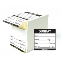 50x50mm Sunday Day of the Week Use by food rotation label. 500 per roll
