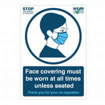 Face covering must be worn at all times unless seated