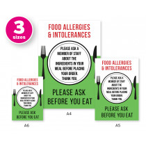 Food Allergies & Intolerance, Please Ask a Member of Staff about Ingredients Cafe & Pub Notice Comes with 2 options for displaying