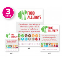 Food Allergy? Customer Allergen Symbols & Ingredients Awareness Pub & Cafe Notice. Comes with 2 options for displaying
