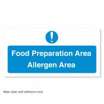 Food Preparation Area - Allergen Area Self - Adhesive