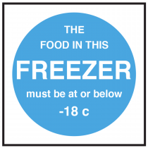 Freezer Food Display Temperature Signs