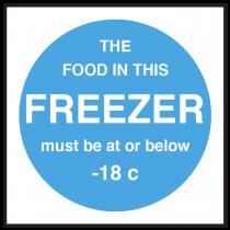 Freezer Food Display Temperature Signs