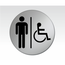 Gents & Disabled Symbol Satin Silver Toilet Door Disc