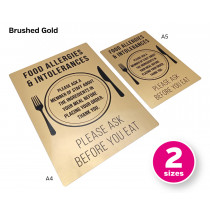Prestigious Food Allergies & Intolerances Please Ask Before You Eat Notice - Portrait - Gold or Silver