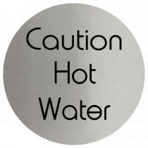 Caution Hot Water Stainless Steel Disc