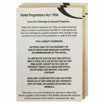Hotel Proprietors Act 1956 Guest Information Notices