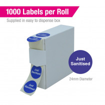 Just Sanitised Stickers - Roll of 1000 labels in dispenser box