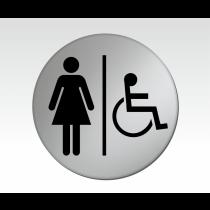 Ladies & Disabled Symbol Satin Silver Toilet Door Disc