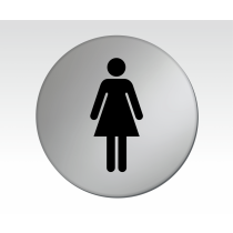 Ladies Symbol Satin Silver Toilet Door Disc