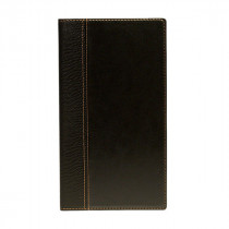Trendy Black Leather Style Restaurant Bill Presenter - Size 24 x 13.5 cm