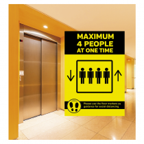 Maximum 4 people allowed in the Lift at one time social distancing lift guidance Sign