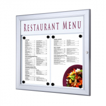A3 Landscape Lockable Poster Display Case with Header Panel