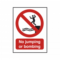 No Jumping or Bombing Safety Sign